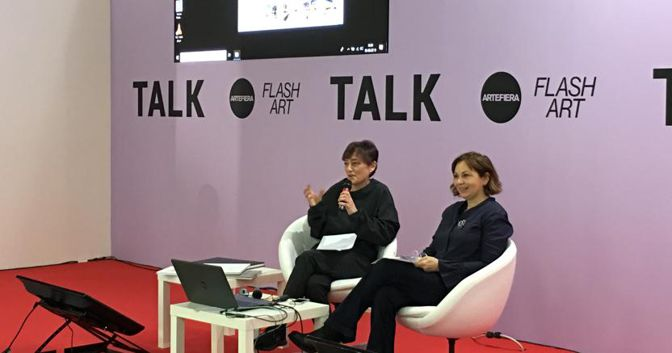 "Elena Re ed Enrica Acuto Jacobacci durante il talk ""Arte e Proprietà Intellettuale"", Arte Fiera 2019"