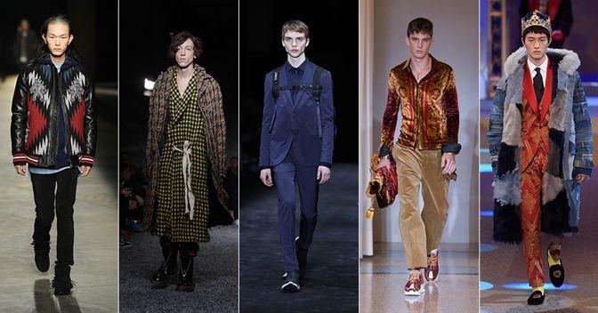 Da sinistra: Diesel Black Gold, Marni, Neil Barret, Versace, Dolce & Gabbana