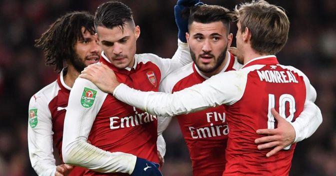 Giocatori della squadra dell'Arsenal (Afp)