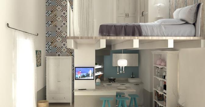 Monolocale multispazio per la casa al mare con terrazzo - Monolocale con letto a soppalco ...
