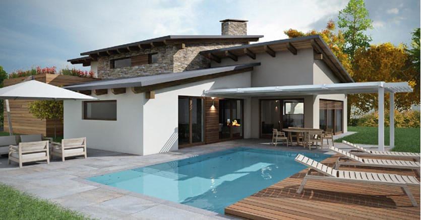pietra legno e tetto verde la villa con piscina
