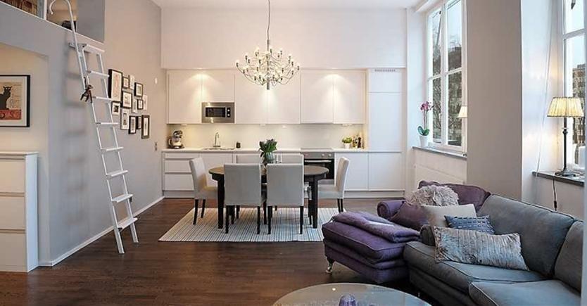 Aumentare lo spazio del living con la disposizione dell - Disposizione mobili cucina ...