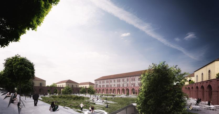 Un rendering della riqualificazione della caserma La Marmora di Torino