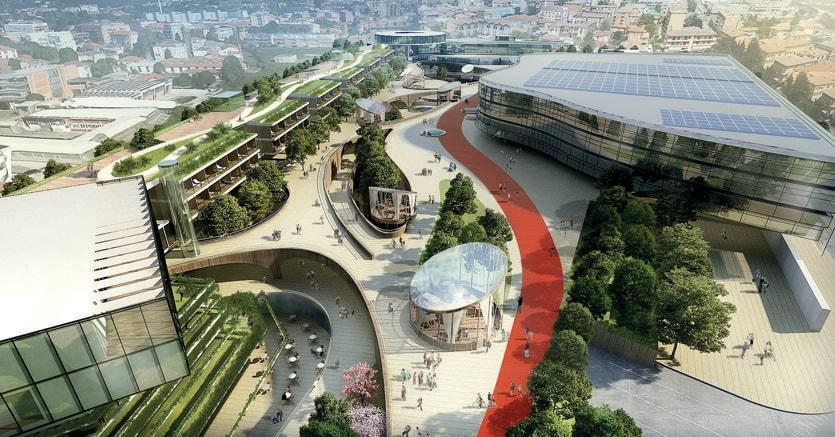 Rendering del nuovo quartiere Chorus Life (progetto di Joseph di Pasquale) per un investimento di oltre 100 milioni, ospiterà anche un'arena multifunzionale