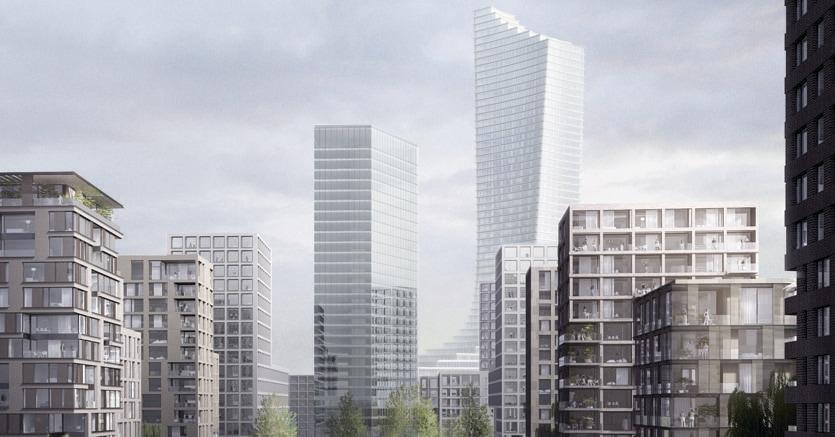 Il rendering del nuovo grattacielo di 235 metri progettato da David Chipperfield che sorgerà ad Amburgo