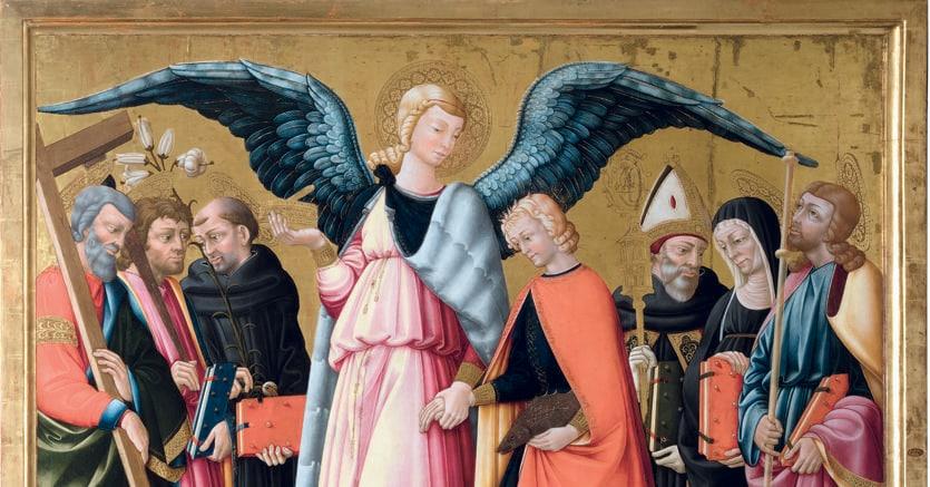 Collezione Giancarlo Gallino. Neri di Bicci, «L'Arcangelo Raffaele con Tobiolo e Santi», 1475