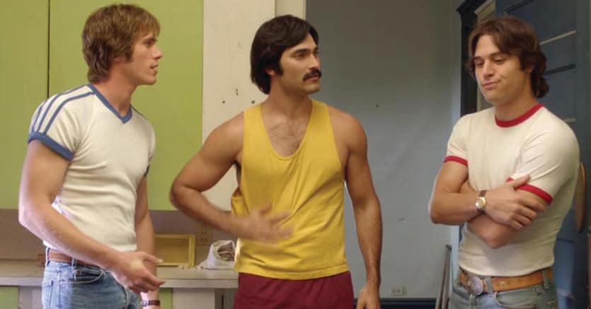 «Tutti vogliono qualcosa»   di Richard Linklater.Da sinistra, Blake Jenner (Jake), Tyler Hoechlin (Mc Reynolds), Wyatt Russell (Willoughby)