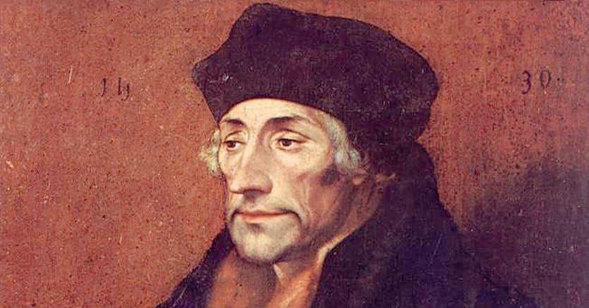 Umanista.Hans Holbein il Giovane, «Ritratto di Erasmo da Rotterdam», (1530). Parma, Galleria Nazionale