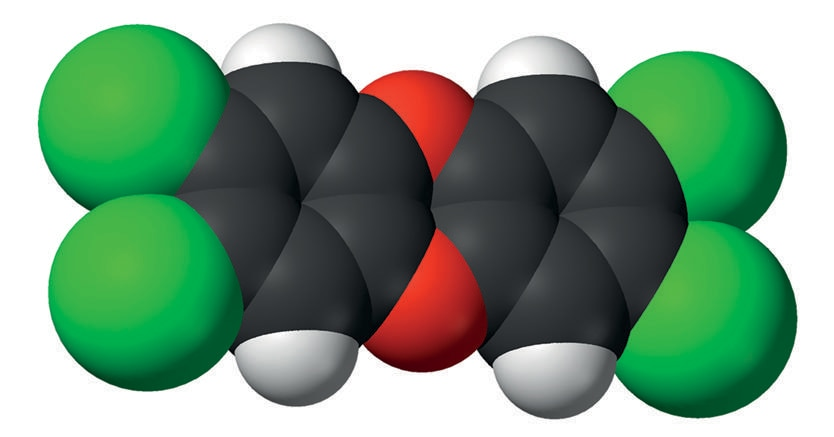 Struttura molecolare della diossina di Seveso: C12H4Cl4O2  ( in nero il carbonio, in rosso l'ossigeno, in bianco l'idrogeno, in verde il cloro)