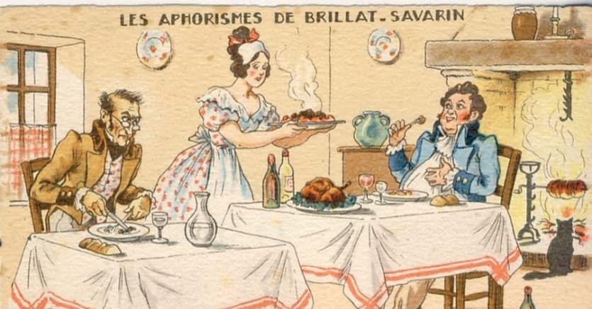 CARTOLINA. Uno degli aforismi di Brillat Savarin in  una cartolina francese umoristica del 1940 circa