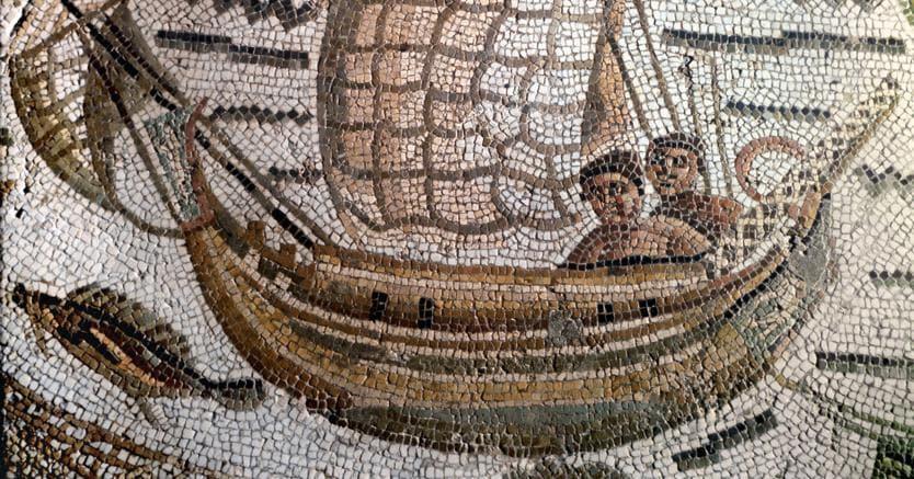 Le rotte dei pescatoriScena di pesca raffigurata in un dettaglio di mosaico, Ippona, Algeria s.d.