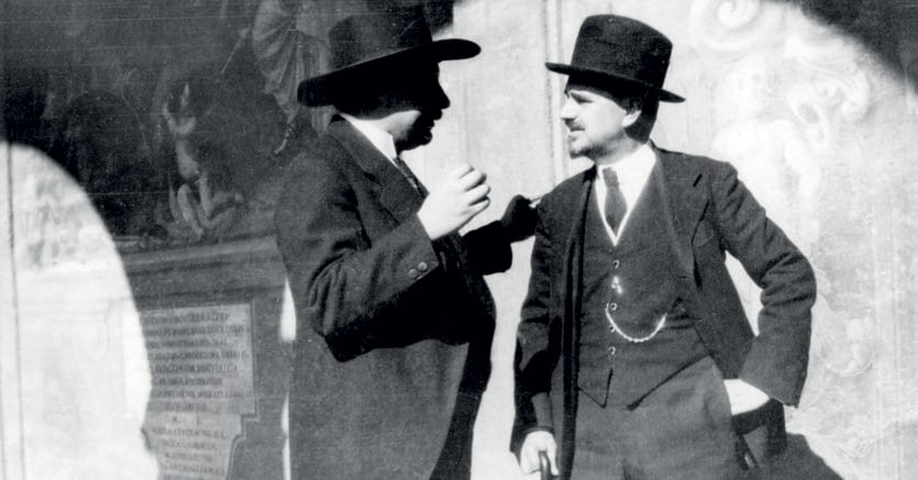 Federigo Enriques (1871-1946), a destra, con Albert Einstein (1879-1955)