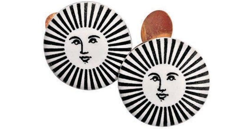 Gemelli di Piero Fornasetti (ceramica e ottone dorato)