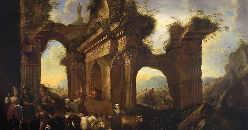 Antonio Cicalese. «Capriccio di architetture», 1665, in vendita da Franco Ambrosi
