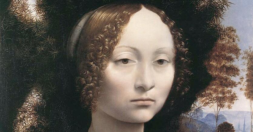 Leonardo da vinci. «Ritratto di Ginevra de' Benci», tempera e olio su tavola, databile tra il 1475 e il 1480, conservato nella National Gallery of Art di Washington