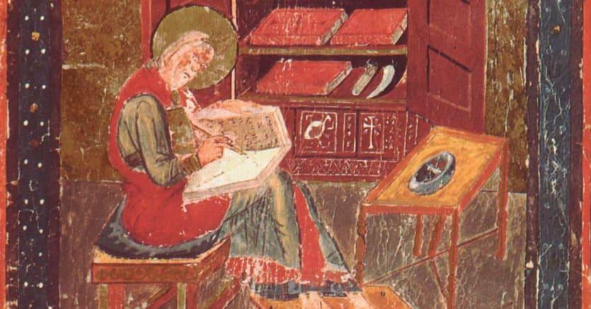 Codex amiatinus. Ritratto del profeta Esdra per molto creduto invece il ritratto di Cassiodoro