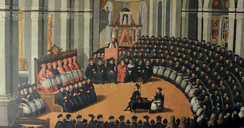Concilio di Trento. I padri conciliari riuniti nella chiesa di Santa Maria Maggiore a Trento