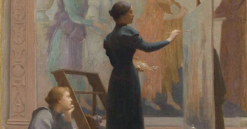 Fin-de-siècle. Étienne Azambre, «Au Louvre», 1894