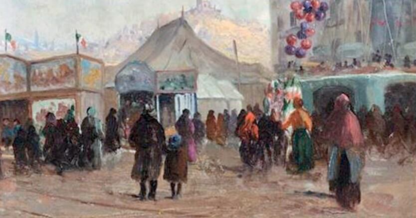 Giorno di festa, Leonardo Roda (Racconigi 1868 - Torino 1933) Luna Park in piazza Vittorio Veneto a Torino