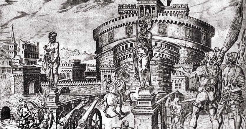 L'assedio  di Castel Sant'Angelo da parte di Carlo V (1527). Dentro  il castello si era rifugiato  Papa Clemente VII che si vede affacciato alla Loggia.