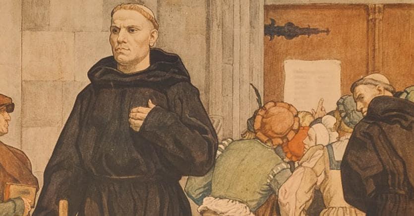 Martin Lutero (1483-1546) di fronte al portale della chiesa di Wittenberg in un'illustrazione di Arthur Kampf del 1936