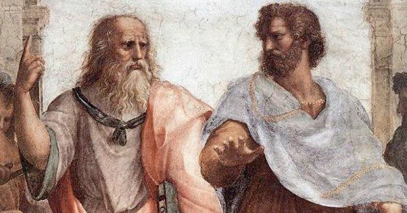 Scuola di Atene. Aristotele e Platone nell'affresco di Raffaello  nei Musei Vaticani  a Roma