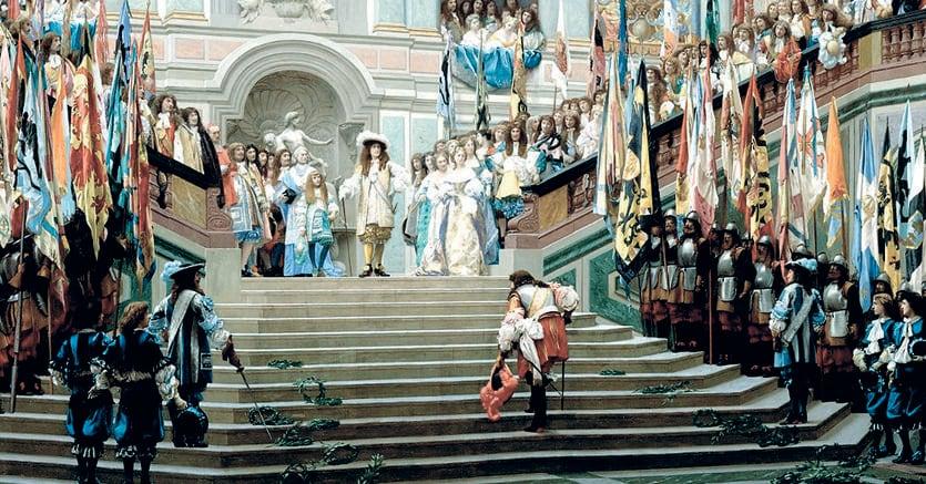 Il ricevimento del Gran Condé a Versailles  con il Re Sole che attende il suo ospite in cima alla Scala degli Ambasciatori