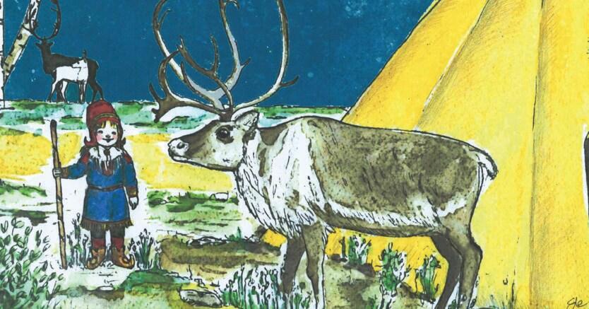 La bambina Sami.Nel disegno di Elena Putignano Aili è calza i tradizionali stivali a punta e con la sua renna sta vicino a una tenda estiva