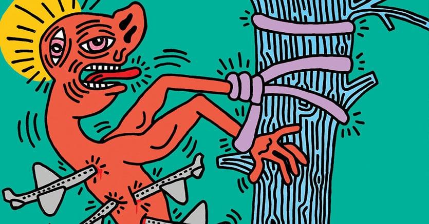 Saint Sebastian, 21 agosto 1984. Acrilico su mussola cm 152,4 x 152,4. Collezione Doriano Navarra(© Keith Haring Foundation)