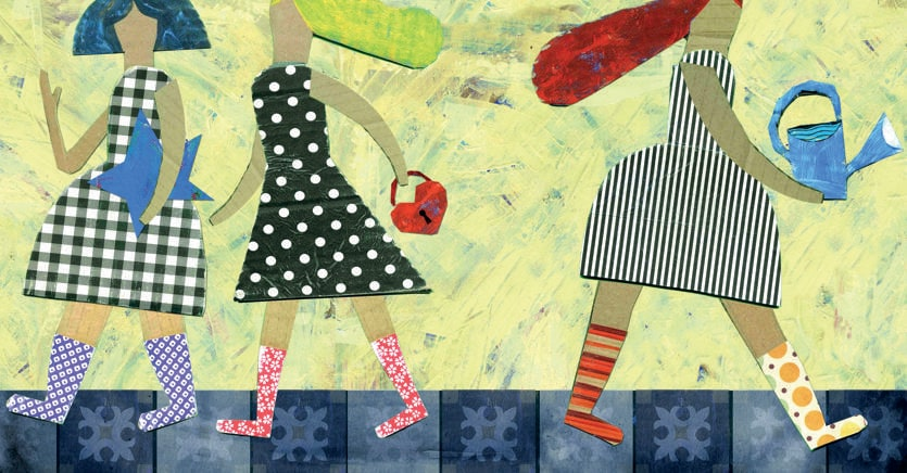 L'illustrazione «Un mitjó diferent a cada peu. Testo di Joan Calçotets. Piscina un petit oceà, 2014» di Armand fa parte dell'esposizione «Sharing a Future: Books in Catalan»,