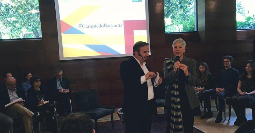 Ottavia Piccolo e Luca Telese durante l'evento #CampielloRacconta