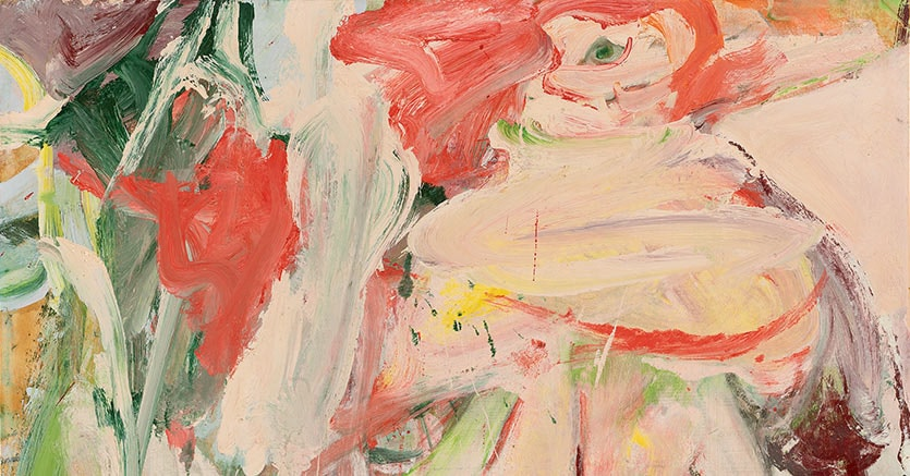 Willem De Kooning. Sin título (Mujer en un bosque) [Untitled (Woman in Forest)], ca. 1963–64. Óleo sobre papel, montado sobre masonita. 73,7 x 86,4 cm. Colección particular. © The Willem de Kooning Foundation, Nueva York /VEGAP, Bilbao, 2016