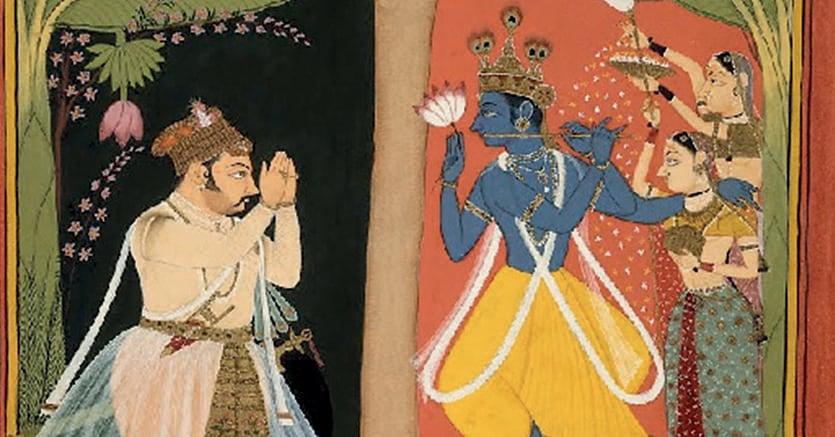 Preghiera. Krishna in un dipinto su carta del  1680 conservato al British Museum di Londra