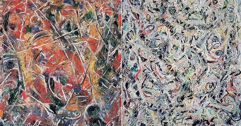 L'esperimento.I due quadri del  1946  di Jacskon  Pollock  affiancati alGuggenheim  di Venezia . A sinistra «Croaking movement», a destra   «Eyes in the heat». I bambini riescono a  indovinare   senza guardare l'etichetta mentre a molti  adulti le figure astratte non riescono a a trasmettere emozioni