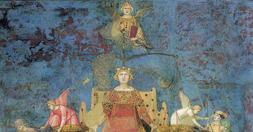 Buon governo e bene comune. Ambrogio Lorenzetti (Siena, 1290-1348), «Allegoria del buon governo», 1338-1339, Sala della Pace, Palazzo Pubblico, Siena