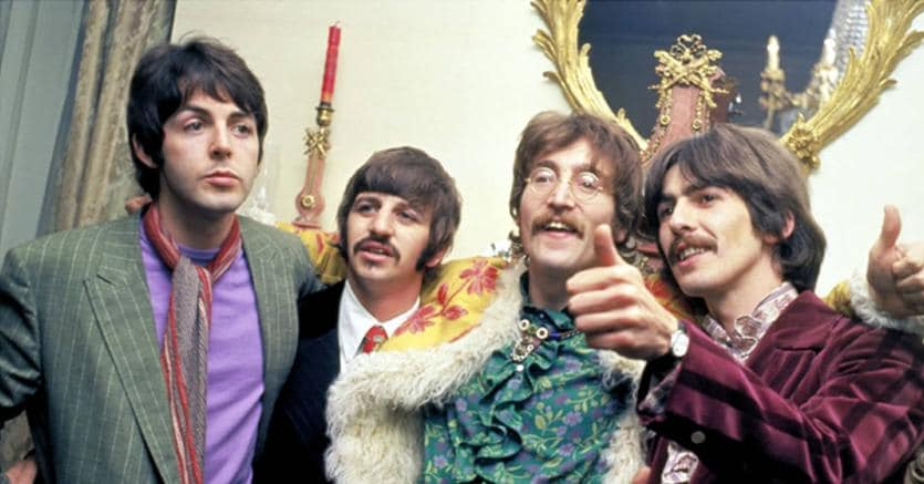 I Beatles alla conferenza stampa di lancio di Sgt. Pepper (Getty Images)