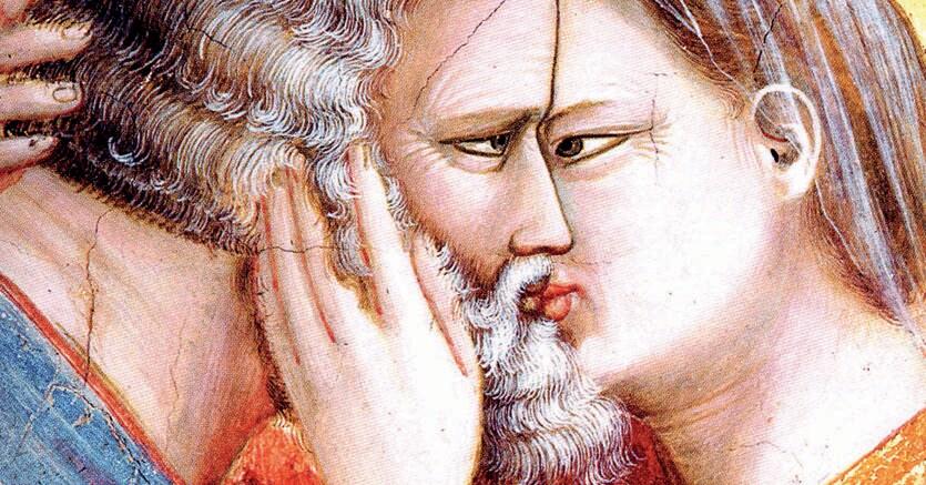 Bacio. Giotto, «Incontro di Anna e Gioacchino alla Porta Aurea» (part.), Padova, Cappella degli Scrovegni