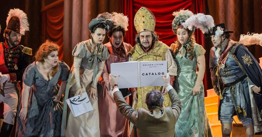 Viaggio a Reims, il cast dell'opera (foto di Yasuko Kageyama-Opera Roma)