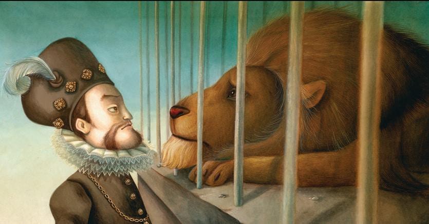 Rodolfo  e il leone. Una delle «L'Ombra del Golem» di Éliette Abécassis, illustrato da Benjamin Lacombe. Copyright Benjamin Lacombe, Éliette Abécassis, L'Ombre du Golem, Flammarion, 2017