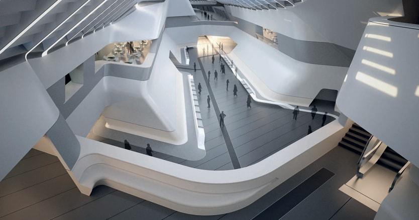 Architettura futura. Il progetto di Zaha Hadid (Baghdad, 31 ottobre 1950– Miami, 31 marzo 2016 )   per la stazione  dell'Alta Velocità  di Napoli Afragola