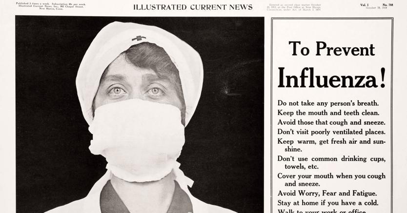 Corsa ai ripari. Il poster con il quale, nell'ottobre 1918, le autorità del Connecticut cercarono di prevenire la diffusione  della «Spagnola»