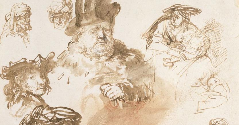 Un foglio con studi di figure,  teste maschili e tre schizzi di una donna in un figlio di Rembrandt