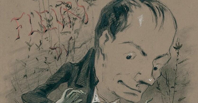 Lupo mannaro, Nadar, caricatura di Baudelaire «en pied, marchant à côté d'une charogne» (in piedi, mentre cammina accanto a una carogna), 1850 ca.  © BNF, Parigi