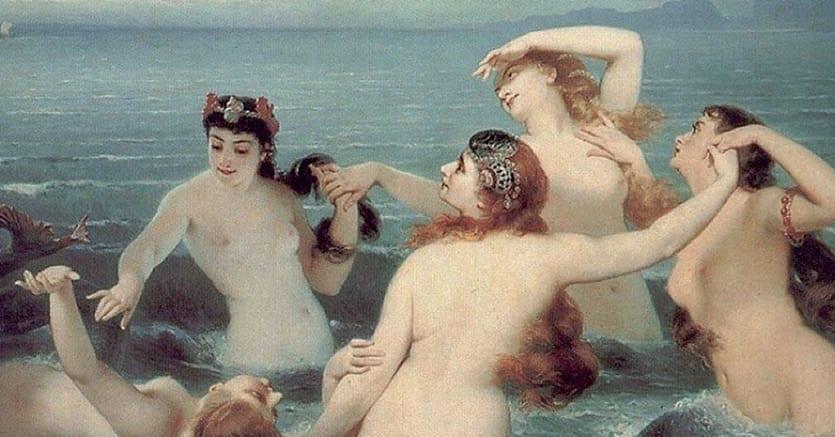 Charles Edouard Boutibonne. «Sirene giocano nel mare», 1883