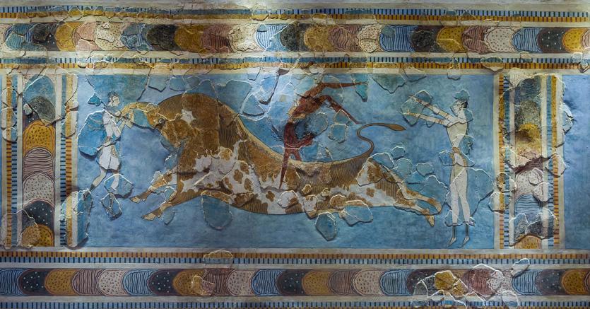 L'affresco della taurocatapsia è un dipinto  scoperto nel palazzo di Cnosso attualmente conservato nel  Museo archeologico di Heraklion (Candia)