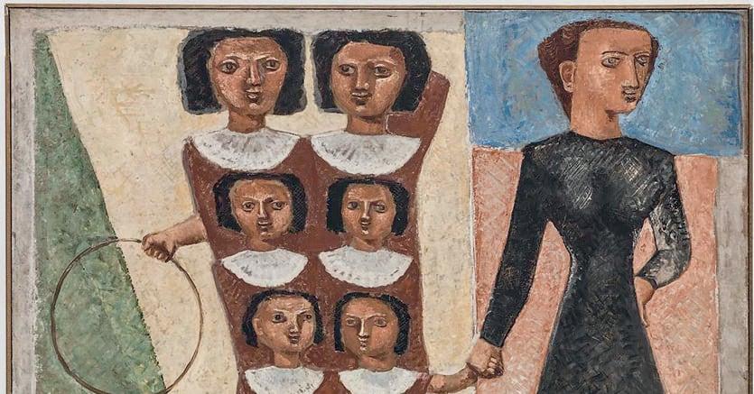 In cortile. Massimo Campigli, «Le educande (Passeggiata delle educante)», 1929 -1930,   Museo  di Arte Moderna e Contemporanea di Trento e Rovereto