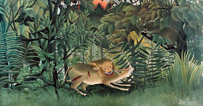 Foglie saettanti. «Le lion, ayant faim , se  jette sur l'antilope» ,HenriRousseau.   1905,Fondazione Beyeler, Basilea