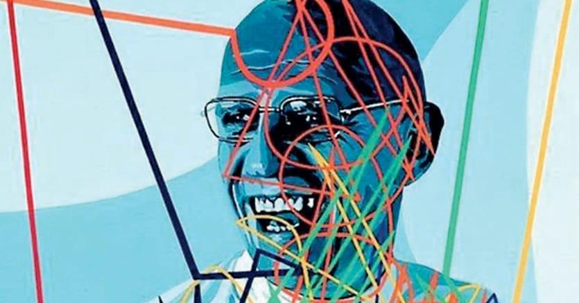 Tra pittura e fotografia.Michel Foucault  ritratto  da Gerard Fromanger, 1976