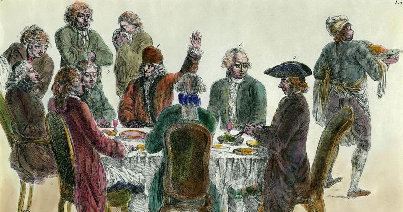 Colazioni filosofiche. Incisione acquarellata del '700 che ritrae un pranzo tra filosofi. Riconoscibili Francois Marie Arouet, detto Voltaire (con il braccio alzato) e Denis Diderot (a destra di Voltaire)