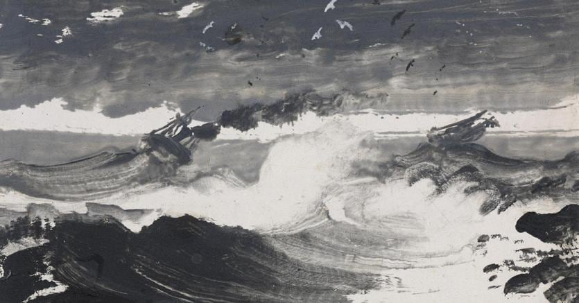 Peder Balke. The Tempest, about 1862. Oil on wood panel, 10.3 x 12.2 cm. The National Gallery, London. Presented by Danny and Gry Katz, 2010. © The National Gallery, London